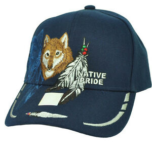 ee4974f5f Details about Native Indian American Pride Lone Wolf Navy Feather Animal  Hat Cap Curved Bill