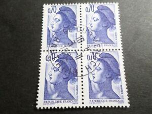 FRANCE BLOC timbres 2240 LIBERTE' DELACROIX, oblitéré 1982 cachet rond, QUARTINA