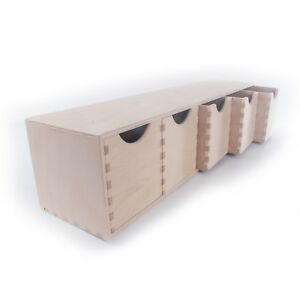 Horizontal-Plain-Wooden-Storage-Box-With-5-Drawers-Craft-Wood-Desk-Organiser