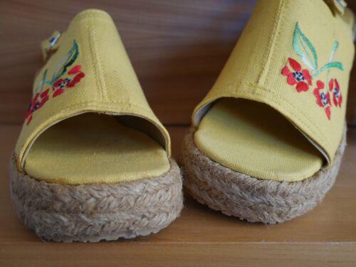 Bast Vintage Boho 40 giallo zeppa Hippie 70 con True Sandal Sandalo Sandali anni anni '70 dzfYdq