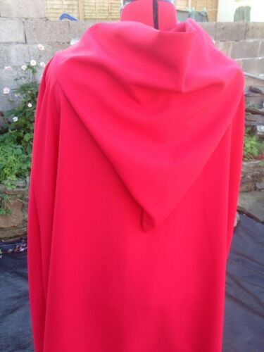 Red hooded cloak with Red lined hood 134 cm long  princess.royal fantasy  wizard