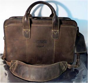 Men-039-s-Suede-Leather-Multi-Pocket-Briefcase-Work-Buckley-Bag-Pembina-60-Years