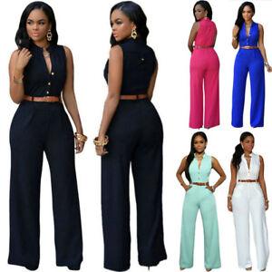 Women-Ladies-Clubwear-Playsuit-V-neck-Bodycon-Party-Jumpsuit-Romper-Trousers