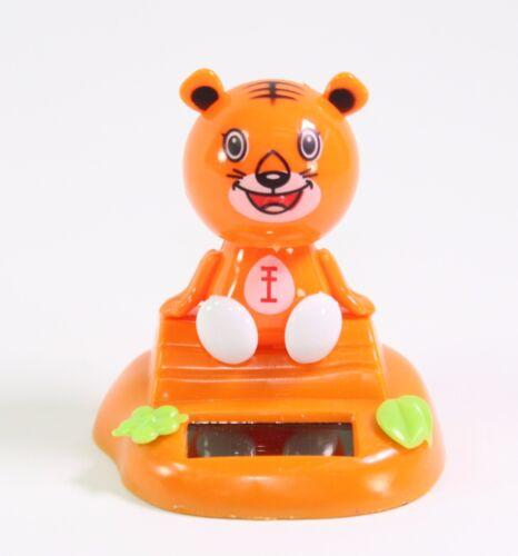 Orange Tiger Sitting on Log Chinese Zodiac Dashboard Home Decor Gift Solar Toy