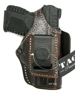 Details about TAGUA PREMIUM BROWN LEATHER 4-WAY 4 in 1 OWB IWB HOLSTER -  SPRINGFIELD XDS 3 3