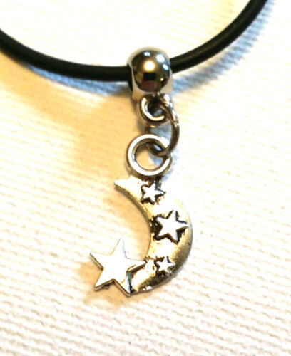Surf Leather Cord Charm Necklace Hippy Vintage Retro Black Leather Choker