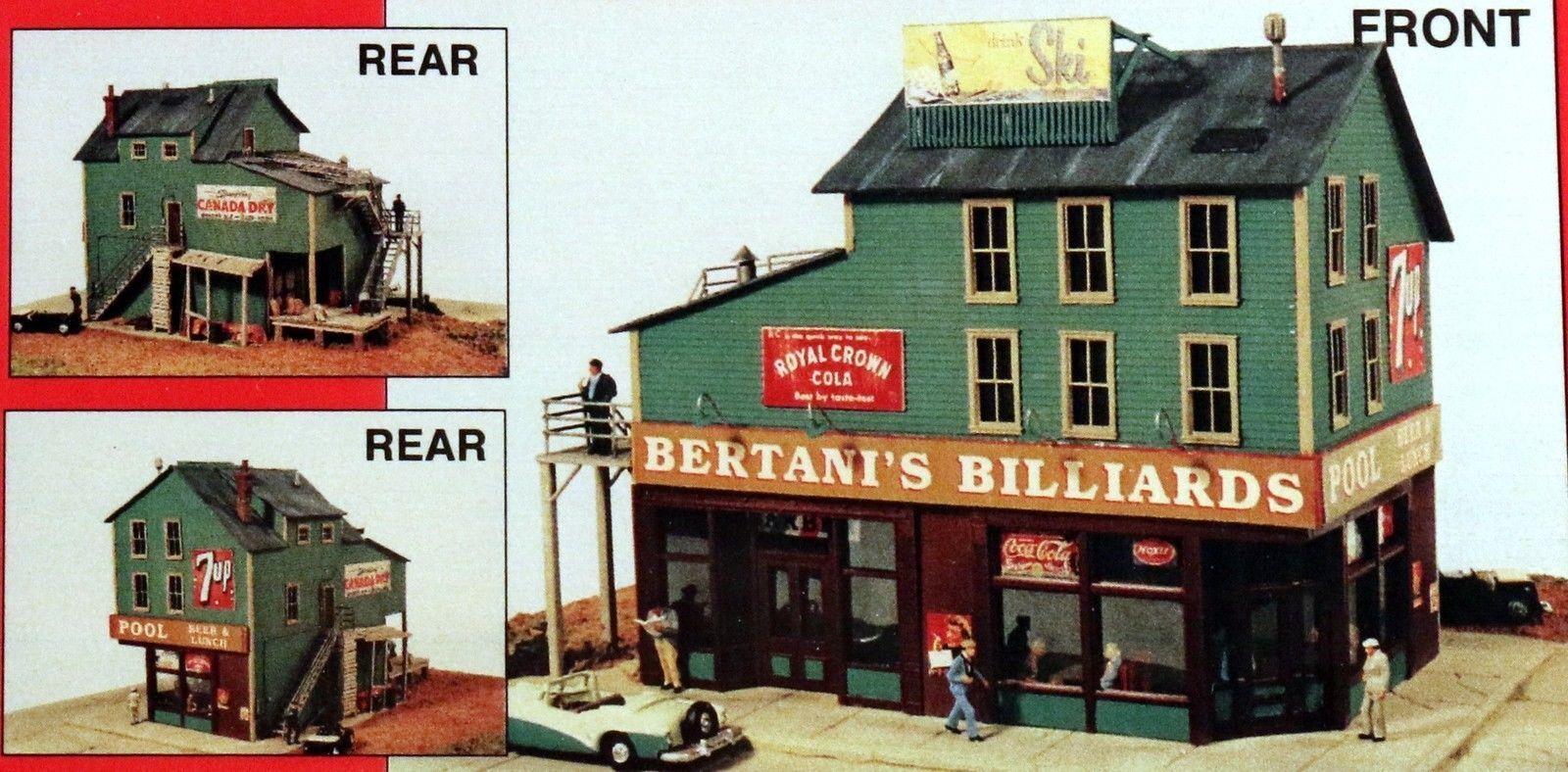 JL Innovative  (HO-Scale) BERTANI's BILLIARDS - Laser Cut Wooden Kit - NIB