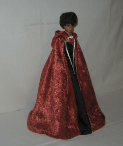 Handmade Copper Velvet Panne Hooded Cape FOR Dolls