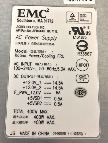 EMC2 071-000-453 API4SG02 0UJ722 EMC//KTN-STL3 400W POWER SUPPLY LOT OF 5