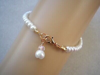 Dainty Pearl /& Crystal Necklace /& Earrings Set Bridal Bridesmaids Wedding 11AS