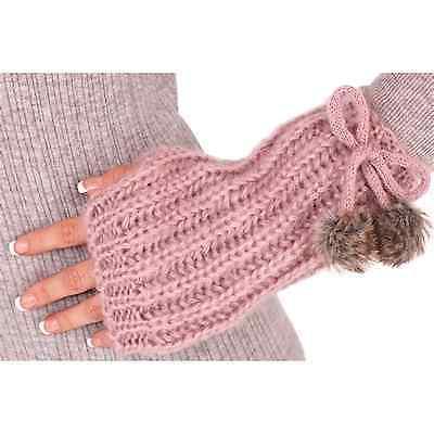 New Knitted Wrist Warmer Gloves Fingerless Pom Poms Beige Black Cream Pink Ladie