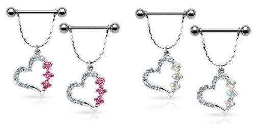 PAIR 14g Hollow Heart Gem Nipple Rings Shields choose Pink or Aurora Borealis