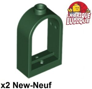 Lego-2x-window-fenetre-1x2x2-2-3-rounded-top-arch-vert-fonce-dk-green-30044-NEUF