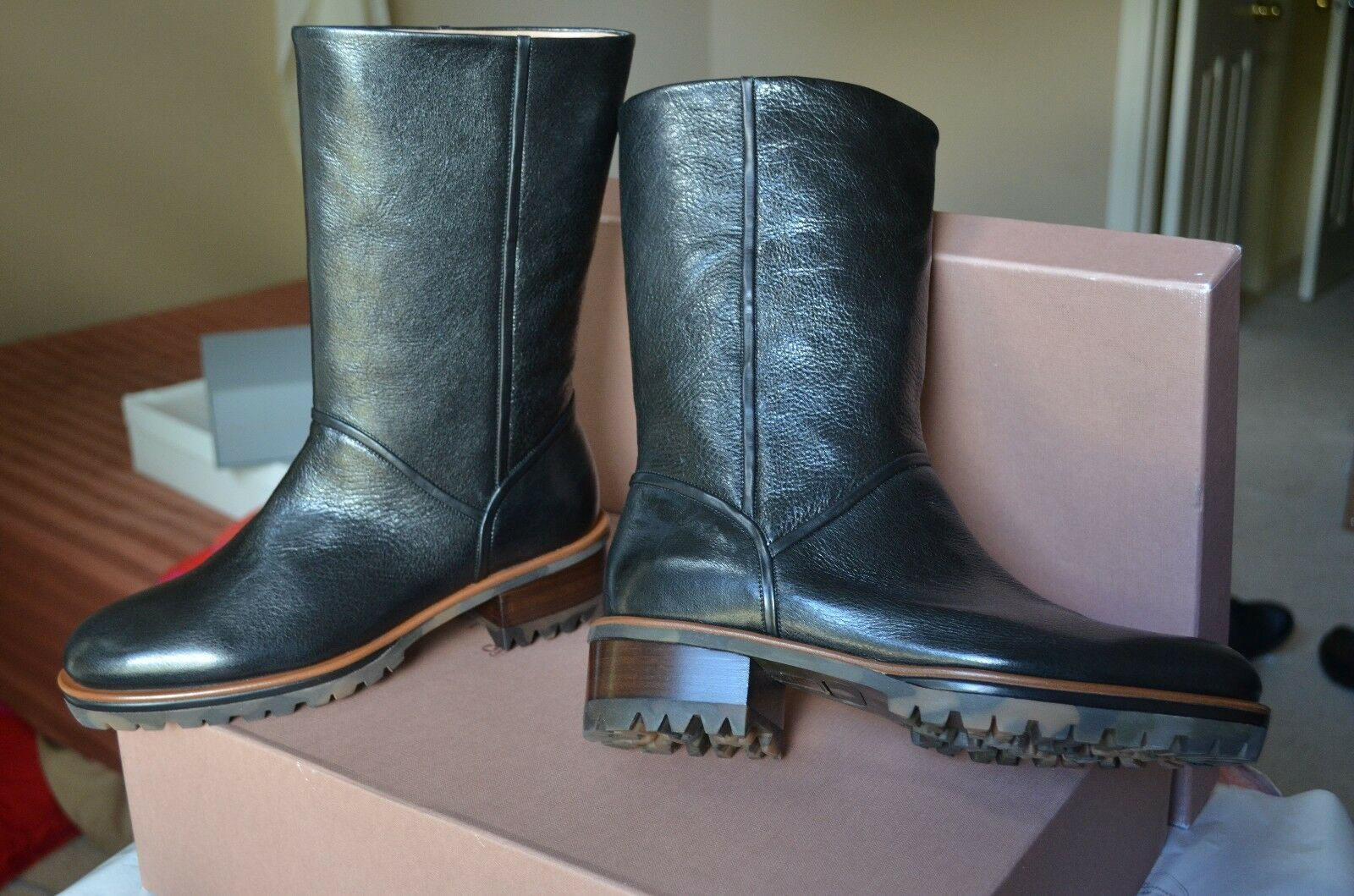 New Women's Boots Eva Turner Black Leather Combat Riding Sz Euro 7 Mid-Calf High