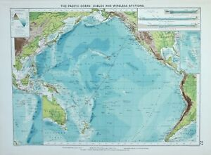 Details about 1920 LARGE MERCANTILE MARINE MAP PACIFIC OCEAN CABLES  WIRELESS STATION CURRENTS