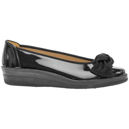 Gabor Lesley Synthetic Glossy Bow-Tie Flat Slip-On Ballerina Womens Shoes