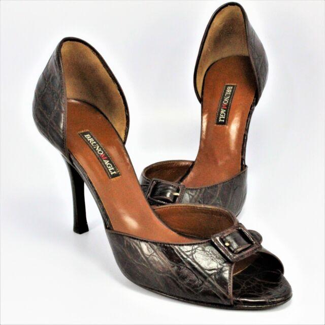 Bruno Magli Peep-Toe Stilettos Womens Size 7N Brown Alligator Leather Made Italy