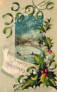 Merry-Christmas-pm-1911-Made-in-Germany-Embossed-Holly-Winter-Scene-Postcard