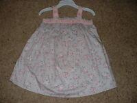 Piper & Posie Floral Dress Set Gray Pink Baby Girls Size 9m 9 Months