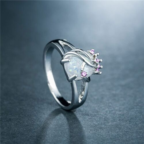 Fashion Femmes Anneaux De Mariage Argent 925 Bijoux White Fire Opal Ring Taille 6-10
