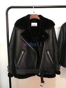 Women-039-s-Chic-Oversized-Leather-Fur-Black-Shearling-Bomber-Jacket-Winter-Warm-Hot