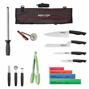 Details about 15pc. Prodigy knife kit Professional Chef knife set complete  roll bag knife kit