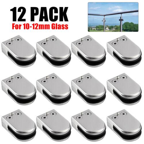 12PCS Stainless Steel Glass Clamp 304 Clip Flat Back Bracket 10-12mm Handrail UK