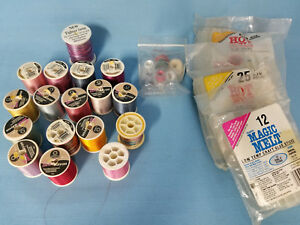 Sewing-Craft-Rayon-Thread-Bobbins-Hot-Glue-Melts-Lot-of-Hobby-Items