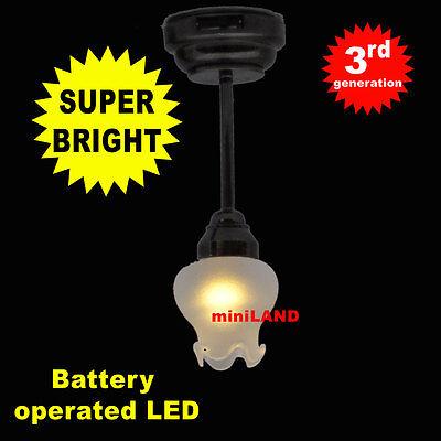 Bk Ceiling L SUPER bright battery operated LED LAMP Dollhouse miniature light