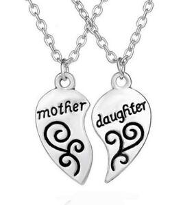 tecnologías sofisticadas Mejor precio Nueva York Detalles de 2 Collares Colgante Corazón para Separar Mother And Hija,