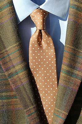J.G. Hook Gentleman's Classic Tan / Taupe & White Dotted All Silk Narrow Necktie