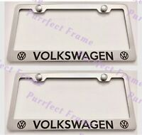 2x volkswagen Stainless Steel License Plate Frame Rust Free W/ Bolt Caps