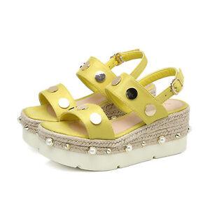 Schuhe ciabatte ciabatte Schuhe sabot Sandale tacco zeppa 7.5 cm giallo corda ... 00e5b1
