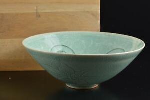 #4953: Korean Goryeo celadon Arabesque TEA BOWL Green tea tool Tea Ceremony