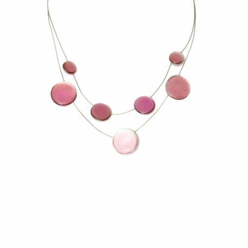 Halskette Damen Kette Kurz Collier Anhänger Modeschmuck Mehrfachkette Weiß Rosa