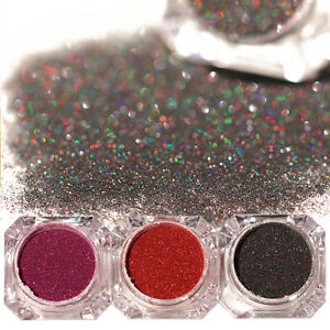 3-Boxen-Holo-Laser-Nail-Glitzer-Pulver-Nail-Art-Nagel-Puder-Glitter-Dekoration