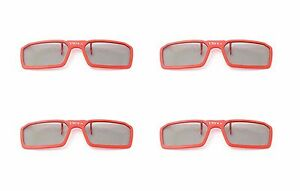 New-4-Pairs-of-Clip-On-3D-Glasses-Red-Polorised-Flip-Up-For-LG-Tv-Cinema-RealD