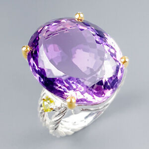 Handmade27ct-Natural-Amethyst-925-Sterling-Silver-Ring-Size-8-R120021