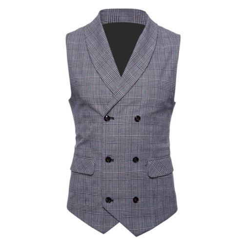 Mens/' Tweed Double Breasted Waistcoat Slim Fit Formal Tank Tops Suit Vest L-4XL