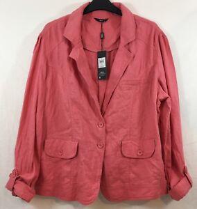 ZuverläSsig M&co Womens Pastel Pink Jacket Size 18 Linen & Viscose Blend Bnwt Rrp £35 Modische Und Attraktive Pakete Jacken, Mäntel & Westen