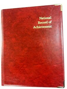 NATIONAL-RECORD-OF-ACHIEVEMENT-PVC-A4-FOLDER-IN-RED-LEATHER-LOOK-GOLD-PRINT
