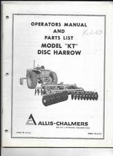 Allis Chalmers Model Kt Disc Harrow Operators Manual And Parts List
