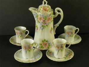 HAND-PAINTED-NIPPON-FLORAL-CHOCOLATE-TEA-SET-9-PIECES-MARKED