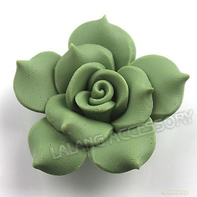 12x 110591+ Olive Flowers Charms 40mm FIMO Polymer Clay Flatback Beads Findings
