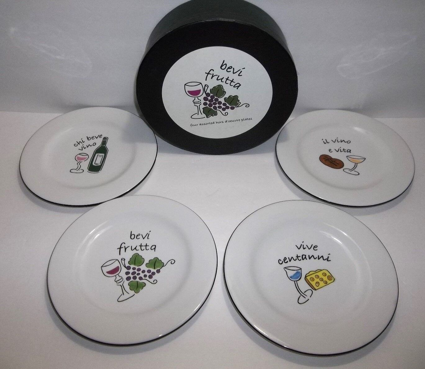 Bevi Frutta Hors d'oeuvre Wine CHEESE Appetizer PLATES Set Of 4 MIB