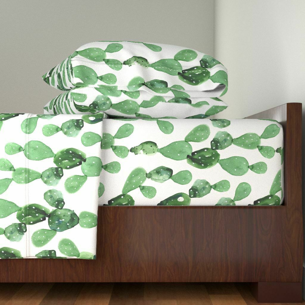 WaterColoreee WaterColoreee Paddle Cactus 100% Cotton Sateen Sheet Set by Roostery