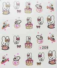 "3D Nail Art Sticker Girls ""Easter Bunny Miffy Pink Gold Bows"" Water Decals 209"