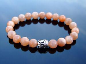 Buddha-Sunstone-Natural-Gemstone-Bracelet-6-9-039-039-Elasticated-Healing-Stone-Chakra