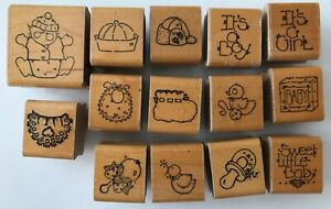 14-Baby-Theme-Small-Rubber-Stamps-JRL-Design-Wood-Mounted-Bibs-Hats-Toys-Script