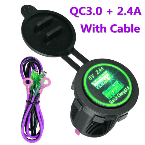 5V//2.4A /& QC3.0 Universal Green LED Dual USB Car SUV Power Outlet Quick Charger